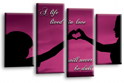 Life Quote Wall Art Print Plum Black Love Picture Split Panel